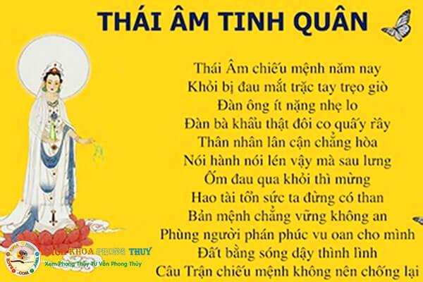 Tính chất của sao Thái Âm trong dân gian vẫn lưu truyền bài thơ
