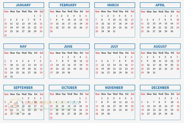 Ngày Thọ Tử năm 2021 theo tháng