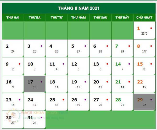 Ngày Vãng Vong tháng 7 âm lịch năm 2021