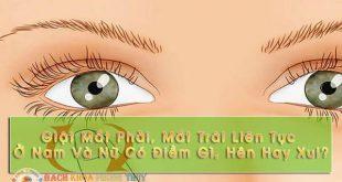 Giật mắt phải, mắt trái liên tục ở nam và nữ có điềm gì, hên hay xui?